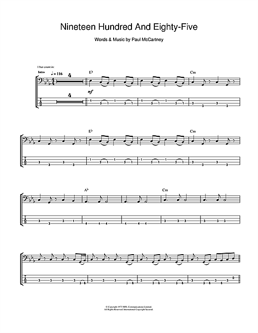 Tablature guitare Nineteen Hundred And Eighty Five de Wings - Tablature Basse