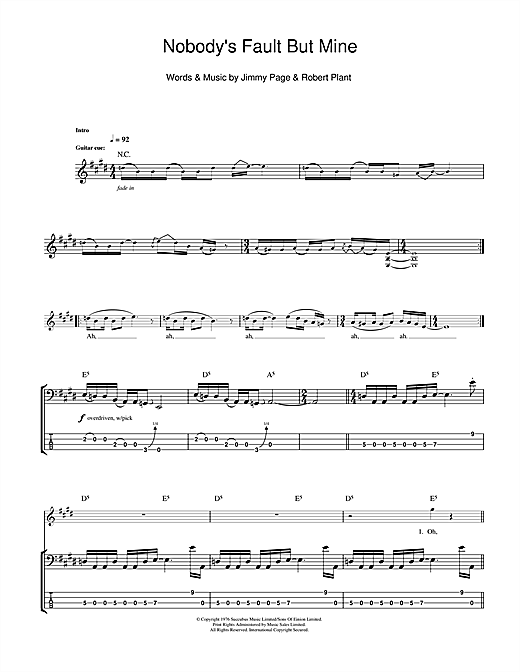 Tablature guitare Nobody's Fault But Mine de Led Zeppelin - Tablature Basse