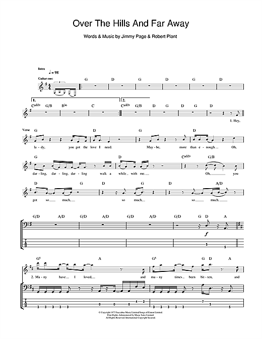 Over The Hills And Far Away Bass Guitar Tab by Led Zeppelin (Bass Guitar Tab u2013 111506)