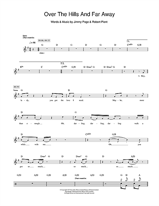 Over The Hills And Far Away Drum Tab By By Led Zeppelin Drums 111507