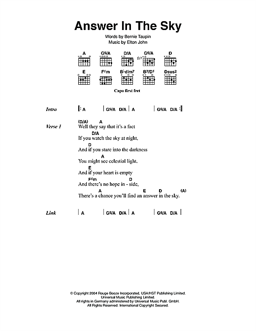 Answer In The Sky Sheet Music
