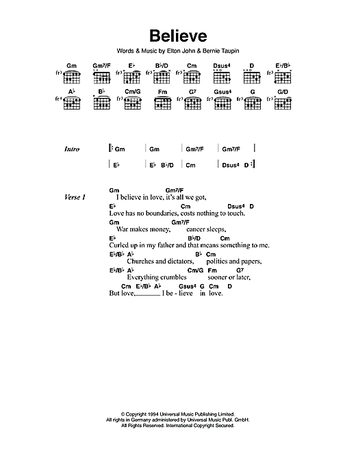 Believe Sheet Music By Elton John Lyrics Chords 111513