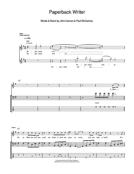 Paperback Writer Sheet Music