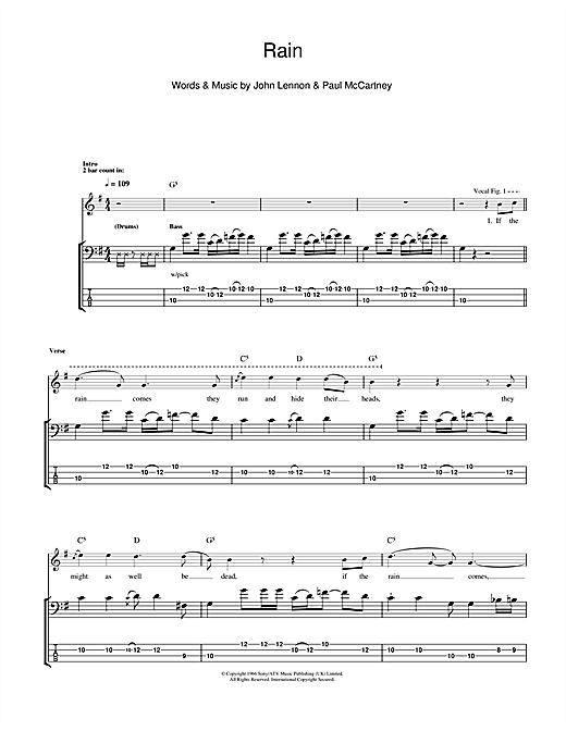 Tablature guitare Rain de The Beatles - Tablature Basse