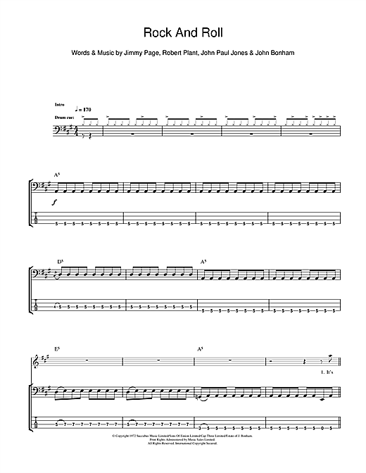 Tablature guitare Rock And Roll de Led Zeppelin - Tablature Basse