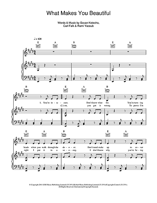 What Makes You Beautiful Sheet Music