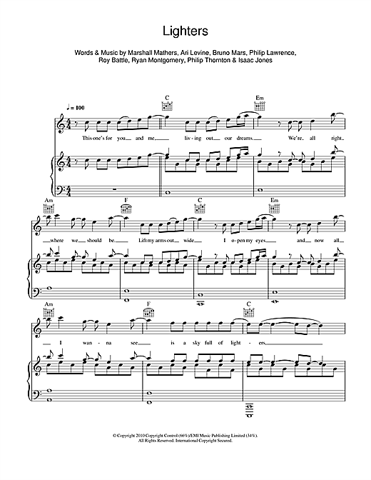 Lighters (feat. Bruno Mars) Sheet Music