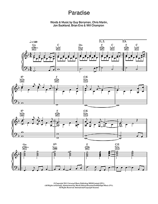 Paradise Piano Sheet Music By Coldplay Piano Voice Guitar Rhm