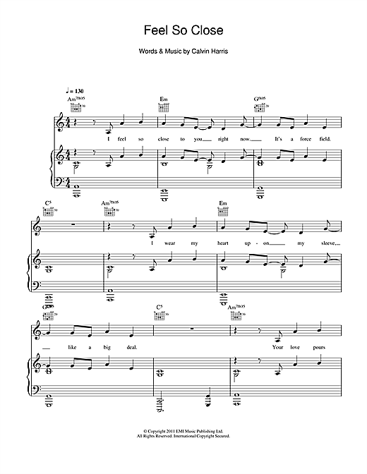 Feel So Close Sheet Music