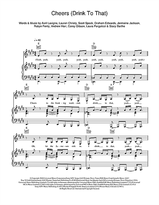 Cheers (Drink To That) Sheet Music
