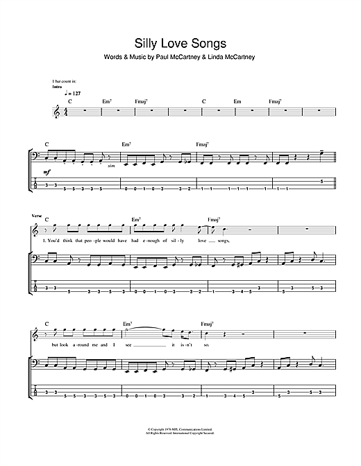 Tablature guitare Silly Love Songs de Wings - Tablature Basse