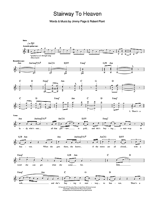 Tablature guitare Stairway To Heaven de Led Zeppelin - Tablature Basse