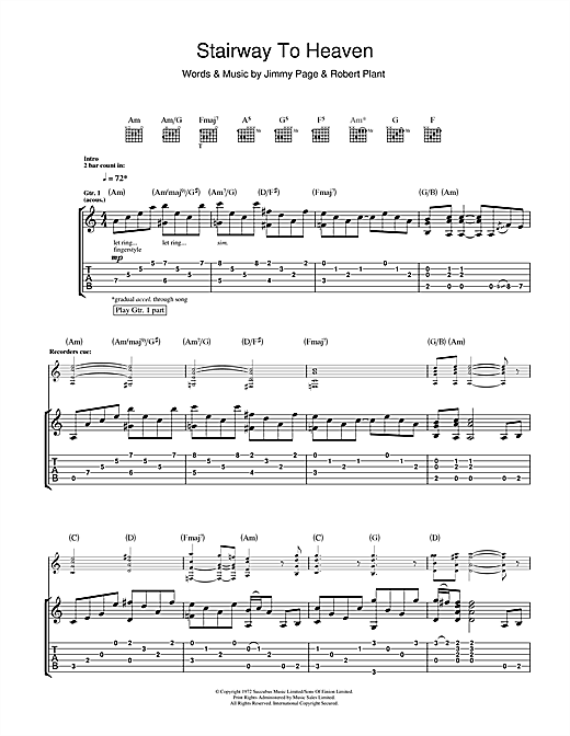 Stairway To Heaven Guitar Tab by Led Zeppelin (Guitar Tab u2013 111543)