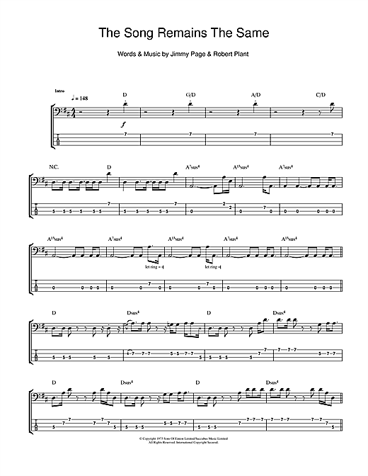 The Song Remains The Same Sheet Music