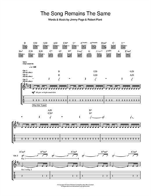 Tablature guitare The Song Remains The Same de Led Zeppelin - Tablature Guitare