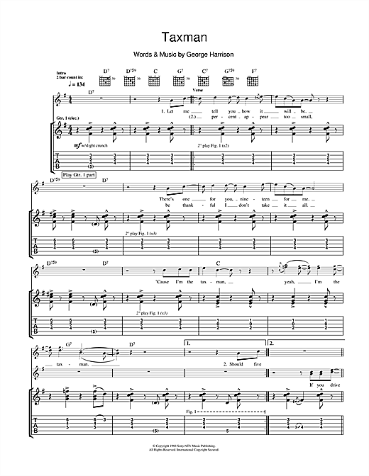 Tablature guitare Taxman de The Beatles - Tablature Guitare
