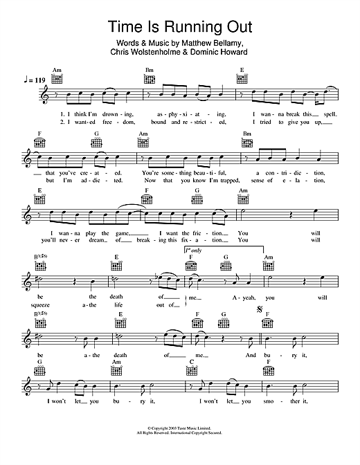 Time Is Running Out (Lead Sheet / Fake Book)