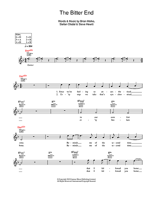 The Bitter End (Lead Sheet / Fake Book)