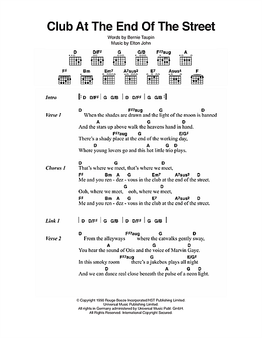 Club At The End Of The Street Sheet Music