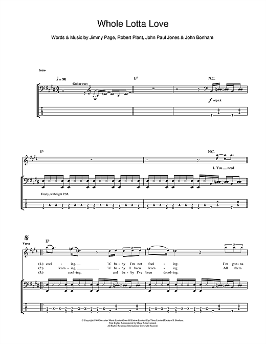 Tablature guitare Whole Lotta Love de Led Zeppelin - Tablature Basse