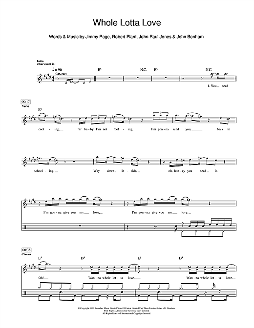 Whole Lotta Love Sheet Music