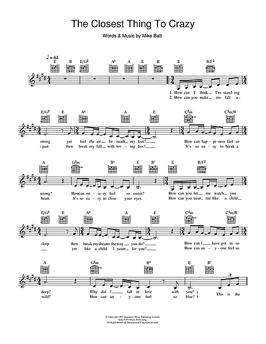 The Closest Thing To Crazy (Lead Sheet / Fake Book)