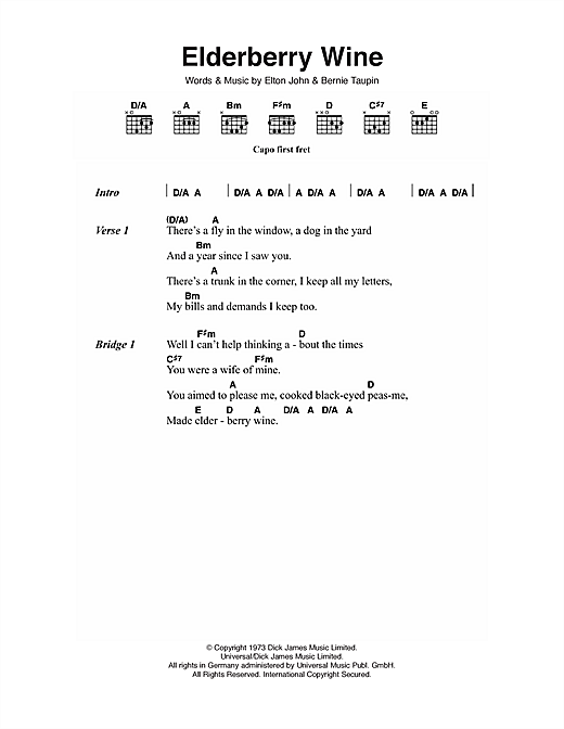 Elderberry Wine (Guitar Chords/Lyrics)