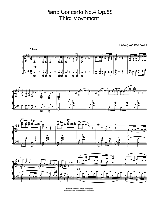 Piano Concerto No.4 Op.58 (Third Movement) Sheet Music