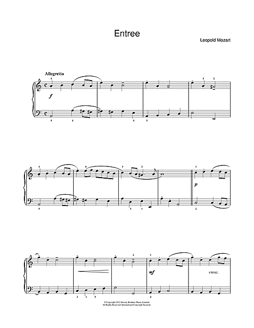 Entree Sheet Music