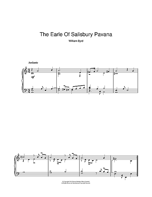 The Earle Of Salisbury Pavana Sheet Music