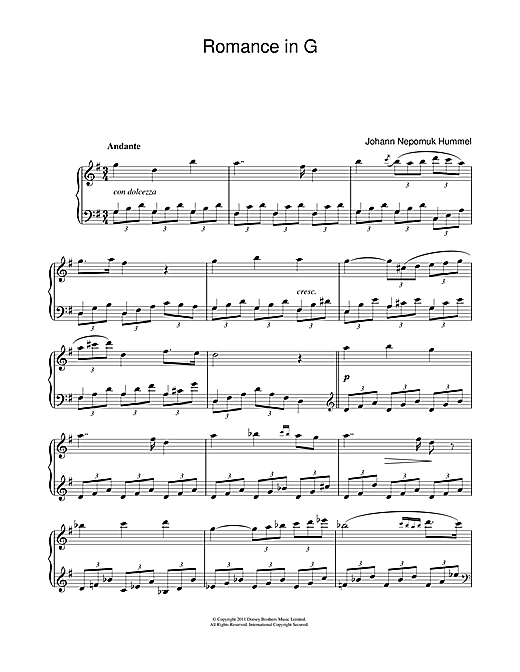 Partition piano Romance In G Op.52 No.4 de Johan Nepomuk Hummel - Piano Solo