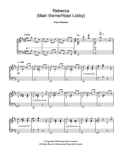 Rebecca (Main Theme/Hotel Lobby) Sheet Music