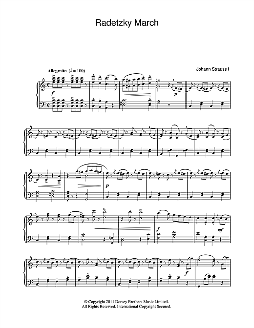 Partition piano Radetzky March Op. 228 de Johann Strauss I - Piano Solo