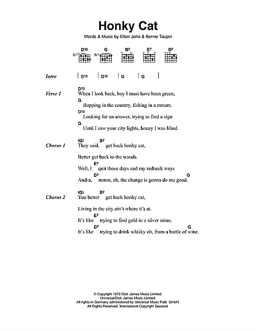 Honky Cat (Guitar Chords/Lyrics)