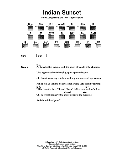 Indian Sunset (Guitar Chords/Lyrics)