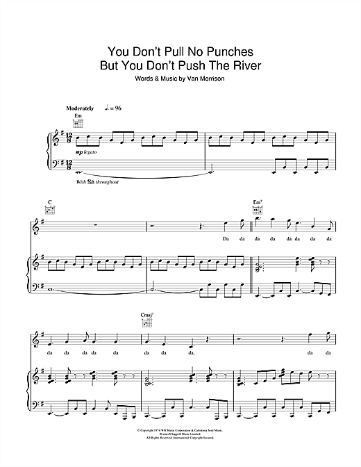 Partition piano You Don't Pull No Punches But You Don't Push The River de Van Morrison - Piano Voix Guitare