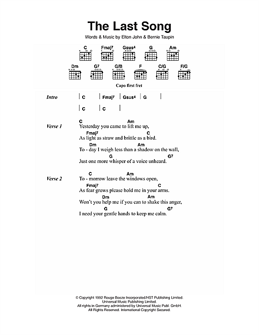 The Last Song (Guitar Chords/Lyrics)