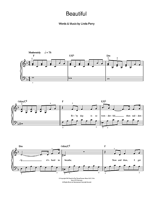 Partition piano Beautiful de Christina Aguilera - Piano Facile