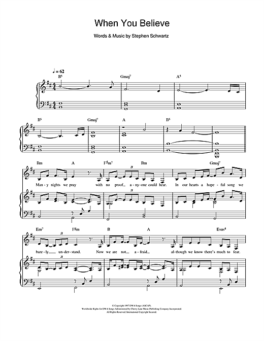 When You Believe (from The Prince Of Egypt) Sheet Music