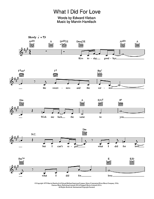 What I Did For Love (from 'A Chorus Line') Sheet Music
