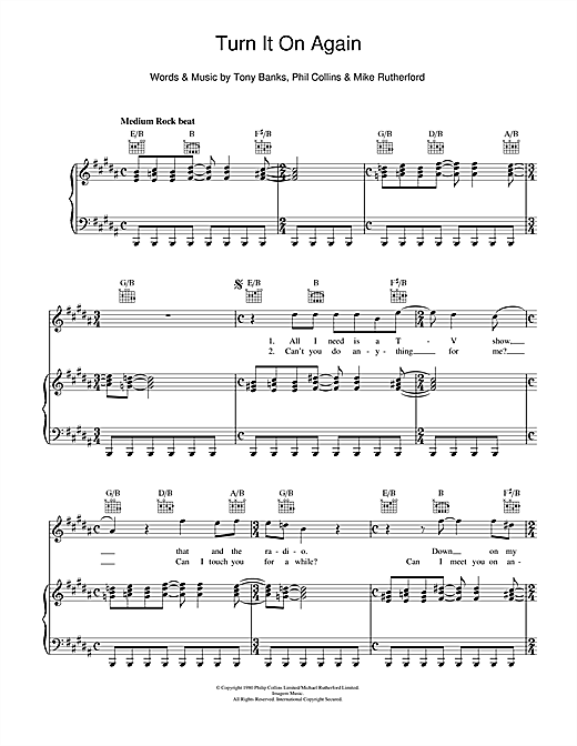 Turn It On Again Sheet Music