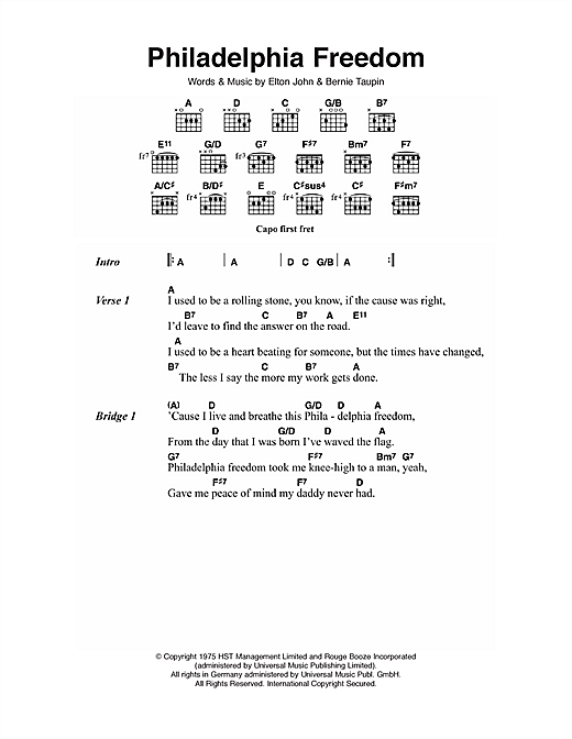 Philadelphia Freedom (Guitar Chords/Lyrics)