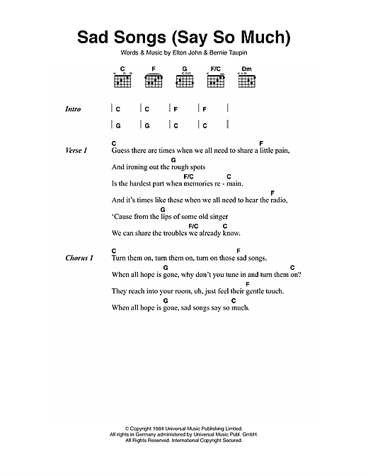 Sad Songs (Say So Much) Sheet Music