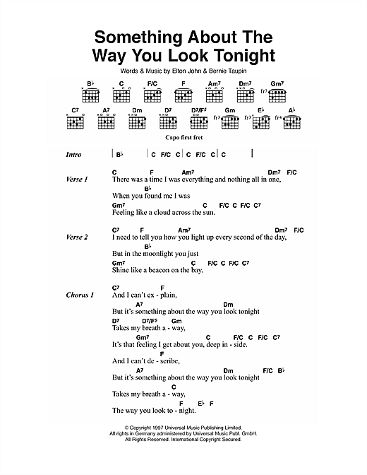 Something About The Way You Look Tonight (Guitar Chords/Lyrics)