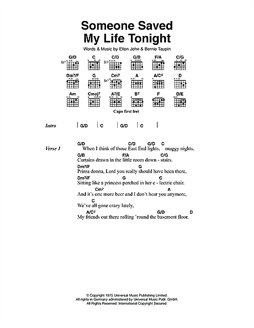 Someone Saved My Life Tonight (Guitar Chords/Lyrics)