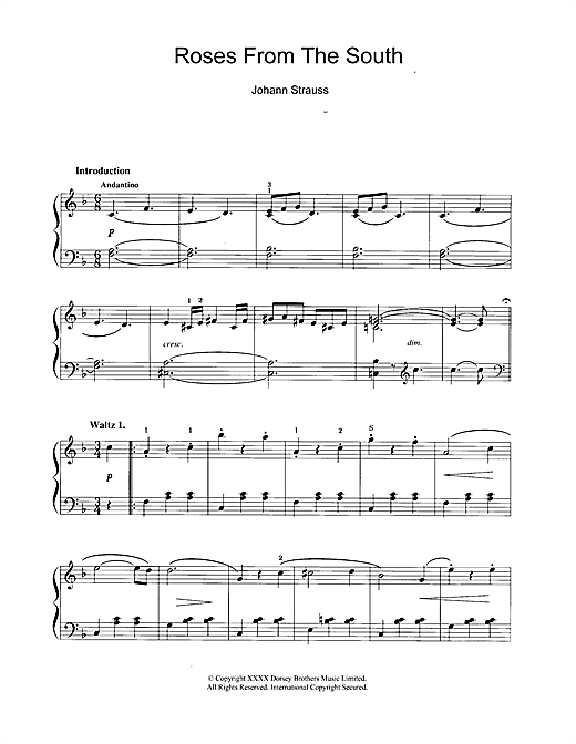 Partition piano Roses From The South de Johann Strauss II - Piano Solo