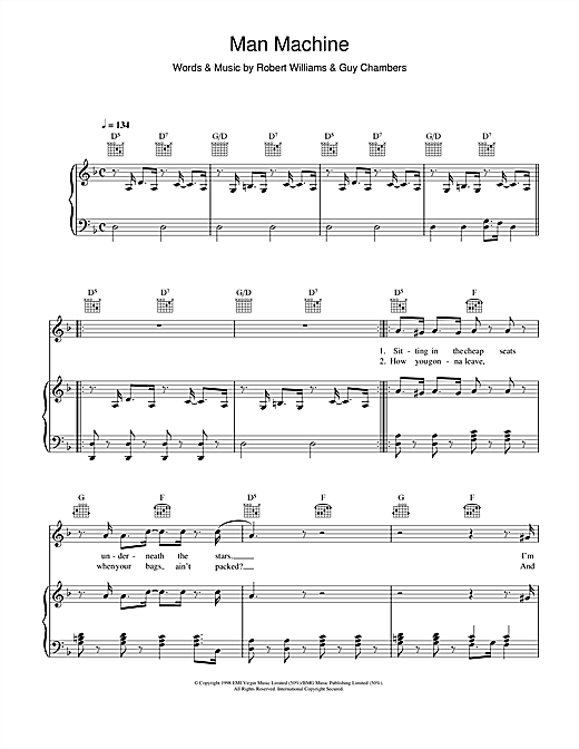 Man Machine (Piano, Vocal & Guitar (Right-Hand Melody))
