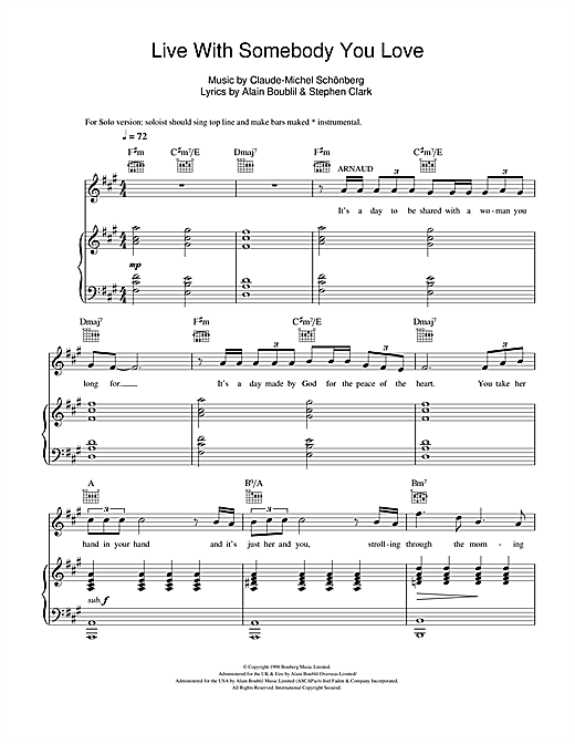 Live With Somebody You Love (from Martin Guerre) Sheet Music