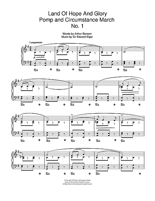 Partition piano Land Of Hope And Glory (Pomp And Circumstance March No. 1) de Edward Elgar - Piano Voix