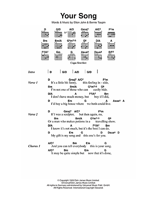 Your Song sheet music by Elton John (Lyrics & Chords – 111751)
